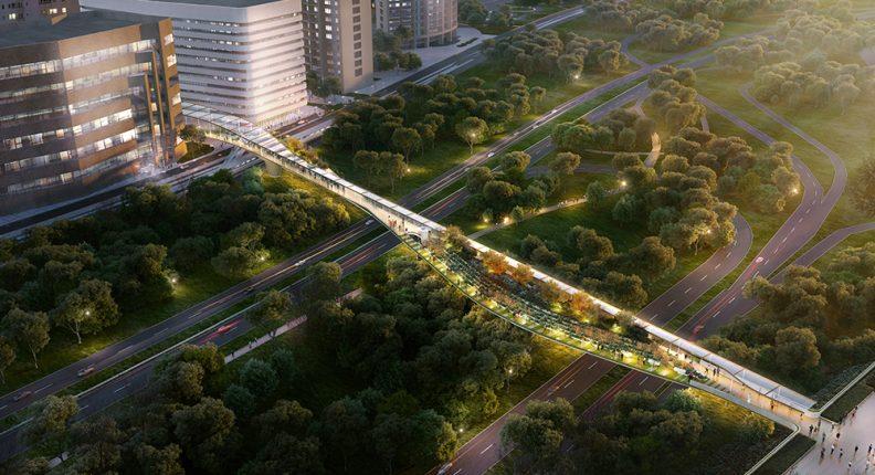 Overhead of Crystal City rendering of a pedestrian walkway