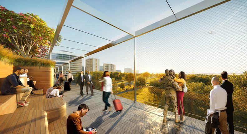 Crystal City rendering of a pedestrian walkway