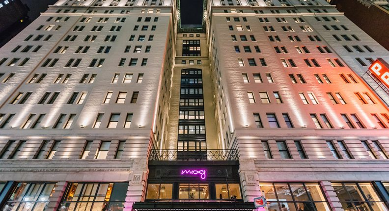 Exterior of Moxy Hotel Garment District in NYC