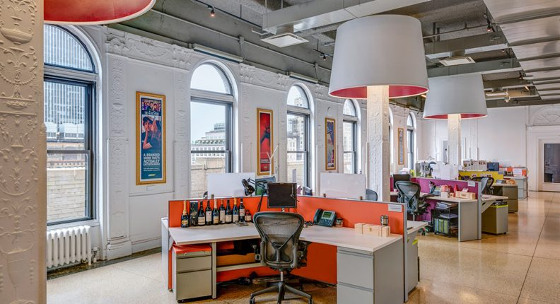 Interior of office space in the Garment District in NYC