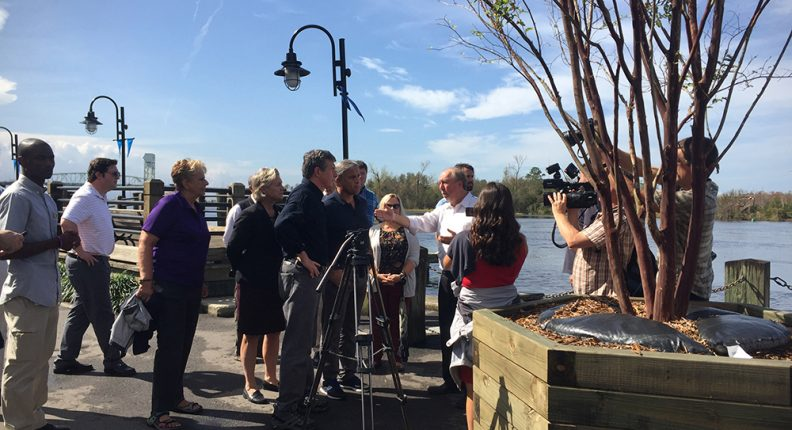 Governor's interview and visit after Hurricane Florence in Wilmington, North Carolina