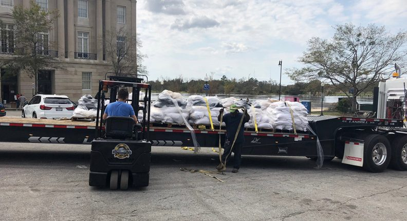 Sandbags being unloaded before Hurricane Florence in Wilmington, North Carolina